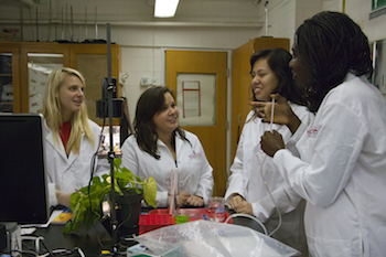 Four female students in a lab stand around a microscope and participate in a photosynthesis activity.